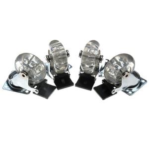 Image 1 - 4 قطعة من البلاستيك المسطح الشفاف 2 بوصة عجلة العجلات الثقيلة مع الفرامل لكرسي مكتب عجلات دوارة