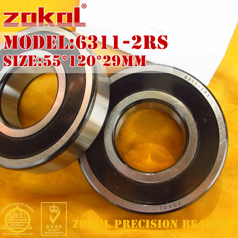 ZOKOL 6311-2RS bearing 6311 2RS 180311 Deep Groove ball bearing 55*120*29mm zokol 6314 2rs bearing 6314 2rs 180314 deep groove ball bearing 70 150 35mm