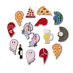 abstract Broken Heart Couples Brooches Collection Wine Bottle Beer Cup Elf Earth Pizza Pin Denim Hat Jewelry Enamel Corsage Gift