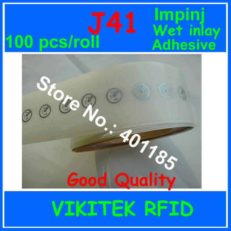все цены на  Impinj J41 UHF RFID adhesive wet inlay sticker 860-960MHZ Monza4 915M EPC C1G2 ISO18000-6C can be used to RFID tag label 100 pcs  онлайн