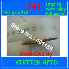 Impinj J41 adhesivo RFID UHF wet inlay sticker 860 960MHZ Monza4 915M EPC C1G2 ISO18000 6C se puede utilizar para etiqueta RFID 100 Uds