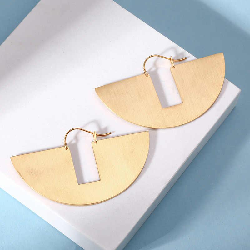 Ретро Вентилятор Висячие серьги для женщин золото цвет нержавеющая сталь рок висячие серьги подарок на день рождения ювелирные изделия brinco