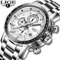 2019 LIGE Stainless Steel Big Dial Waterproof Quartz Watch For Men's Sport's Watch Mens Watches Top Brand Luxury Montre Homme