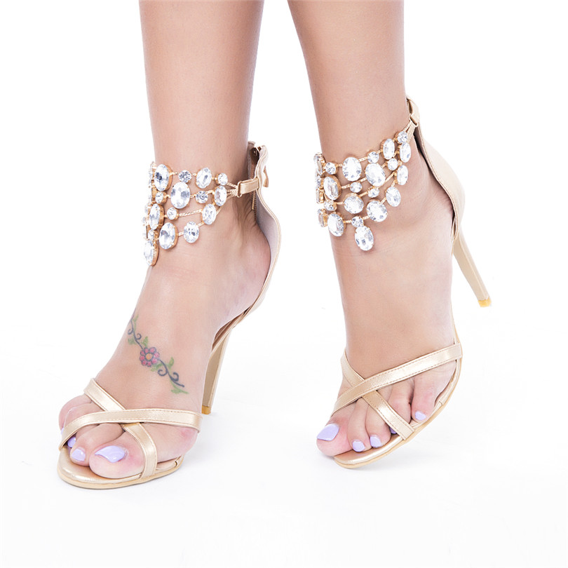 d96cfbd5f87aea Brand Designer Violet Rhinestones Shoes Women Sandals Crystals Ankle Chain  Straps Sandals Ladies Evening Party Dress Sandals-in High Heels from Shoes  on ...