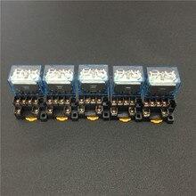 5 комплектов LY4NJ HH64P реле мощности катушки постоянного тока 12 В 24 в 110 В 220 В переменного тока универсальные Миниатюрные реле 14 контактов 10 А с цоколем PTF14A