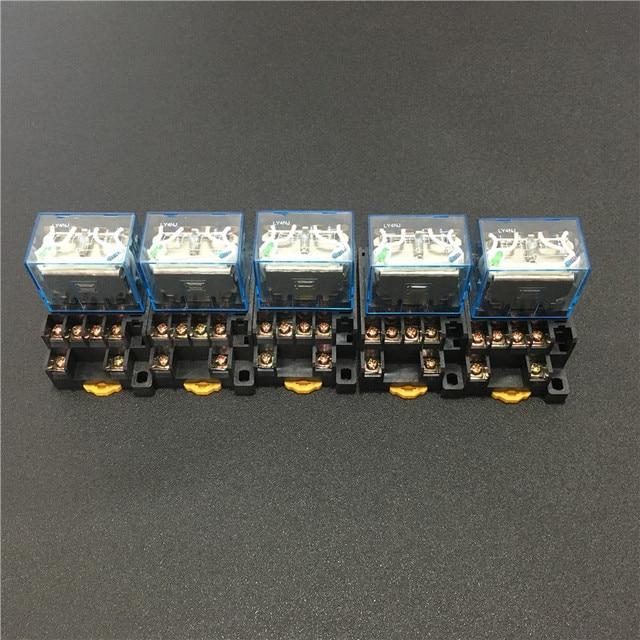 5 סטים LY4NJ HH64P DC 12 V 24 V 110 V 220 V AC הספק סליל ממסר למטרות כלליות מיניאטורי ממסרים 14 סיכות 10A עם PTF14A שקע בסיס