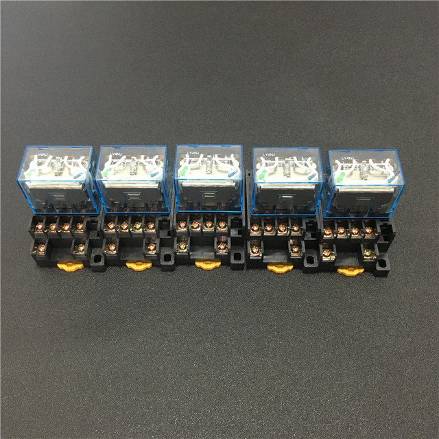 5 sets LY4NJ HH64P DC 12V 24V 110V 220V AC Coil Power Relay General Purpose Miniature Relays 14 Pins 10A with PTF14A Socket Base