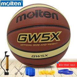 Original Molten GW5X GW6X GW7X para interior y exterior, pelota de baloncesto para hombre, material PU, tamaño 5, 6,7, sin baloncesto con bolsa de Red + aguja