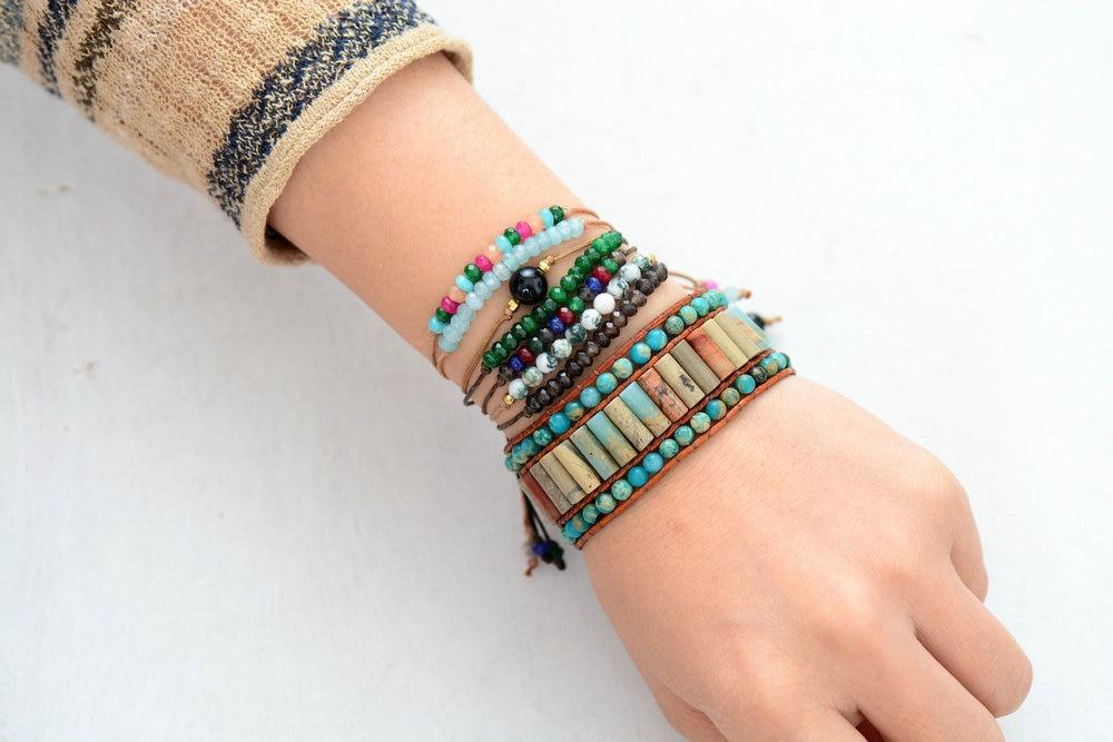 Aztec Natural Woven Stone Leather Wrap Bracelet