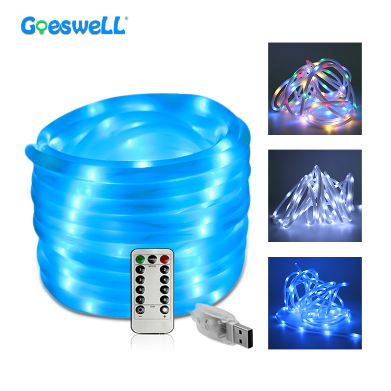 5M Easter Day Light Solar Rope Tube Led String Lights Waterproof Battery Powered USB RGB White Blue Outdoor Party Fairy Lighting