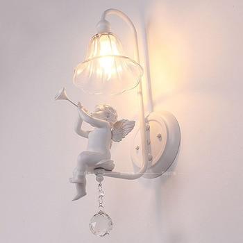 Italian Milan White Resin Baby Angel Bedroom Bedsides Wall Lights Living Room Crystal Wall Lamps Corridor Hallway Wall Sconces