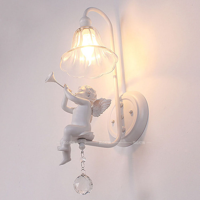 Italian Milan White Resin Baby Angel Bedroom Bedsides Wall Lights Living Room Crystal Lamps Corridor