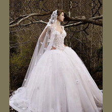 MANSA Vestido De Noiva Elegant Ball Gown Wedding Dresses 2014 Modern Cap Sleeve Sweetheart Dress With Flowers Plus Size