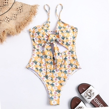 цены Women's Floral Print Cut-out Design One Piece Swimsuit Adjustable Straps Front Knotted Swimwear Monokini Bathing Suit Women