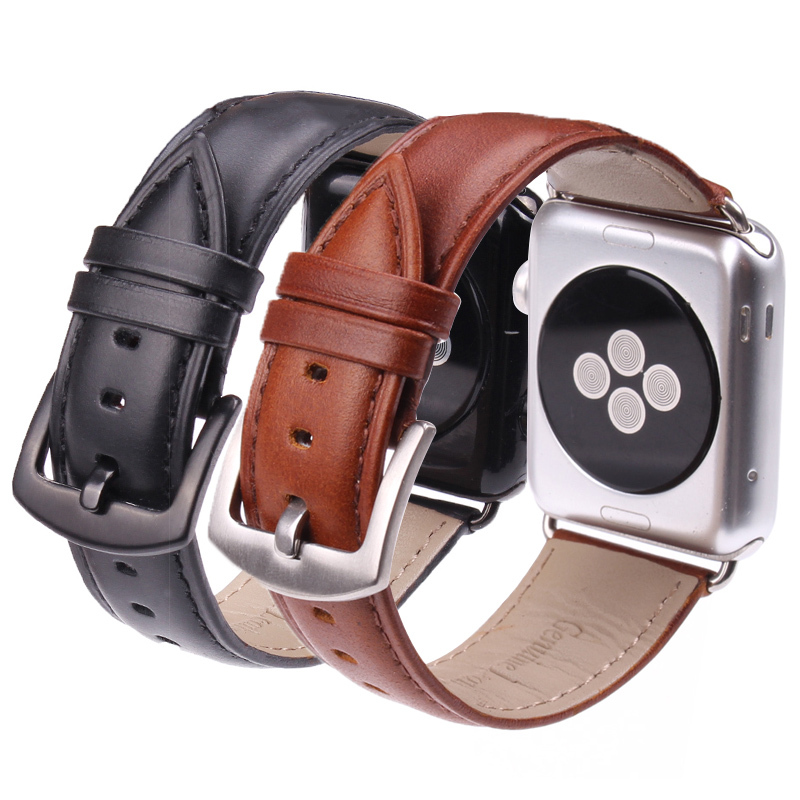 Black Brown Watchband For Apple Watch Band High Quality Smooth Genuine Leather iWatch Strap 38mm 42mm стоимость