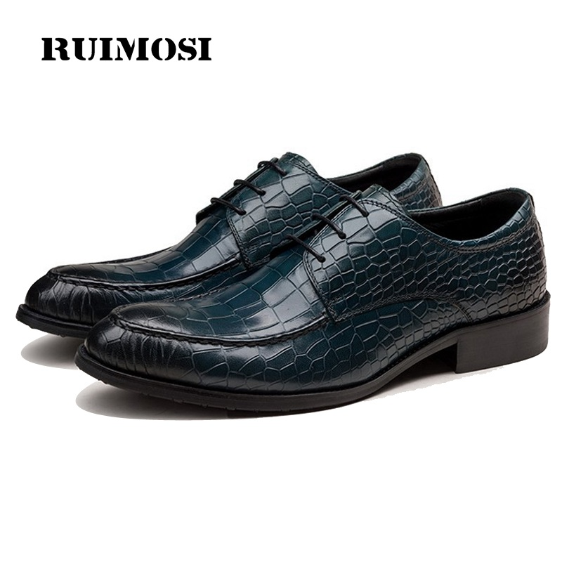 RUIMOSI Luxury Crocodile Formal Man Bridal Dress Shoes Genuine Leather Wedding Oxfords Brand Famous Derby Men's Footwear TH98