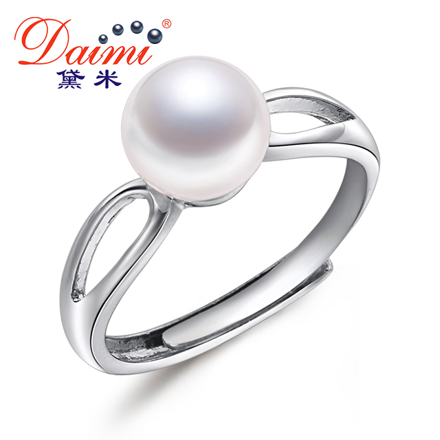 DAIMI 7-8mm Freshwater Water Pearl Ring Adjustable Flame Trendy Jewelry Brand Ri