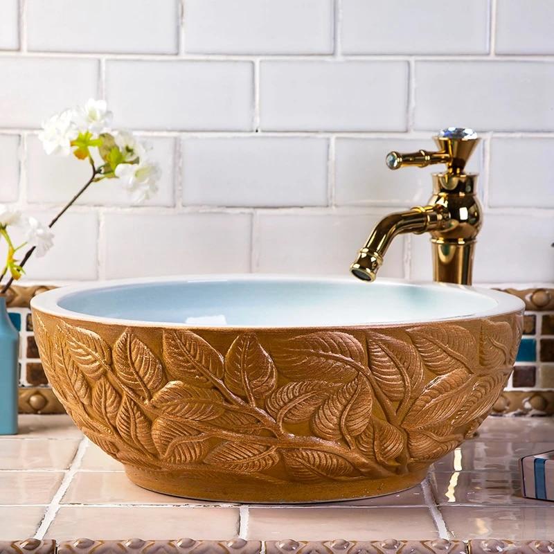 western antique style ceramic colored bathroom luxury basin wash bowl sink vintage wash basin leaves carved design