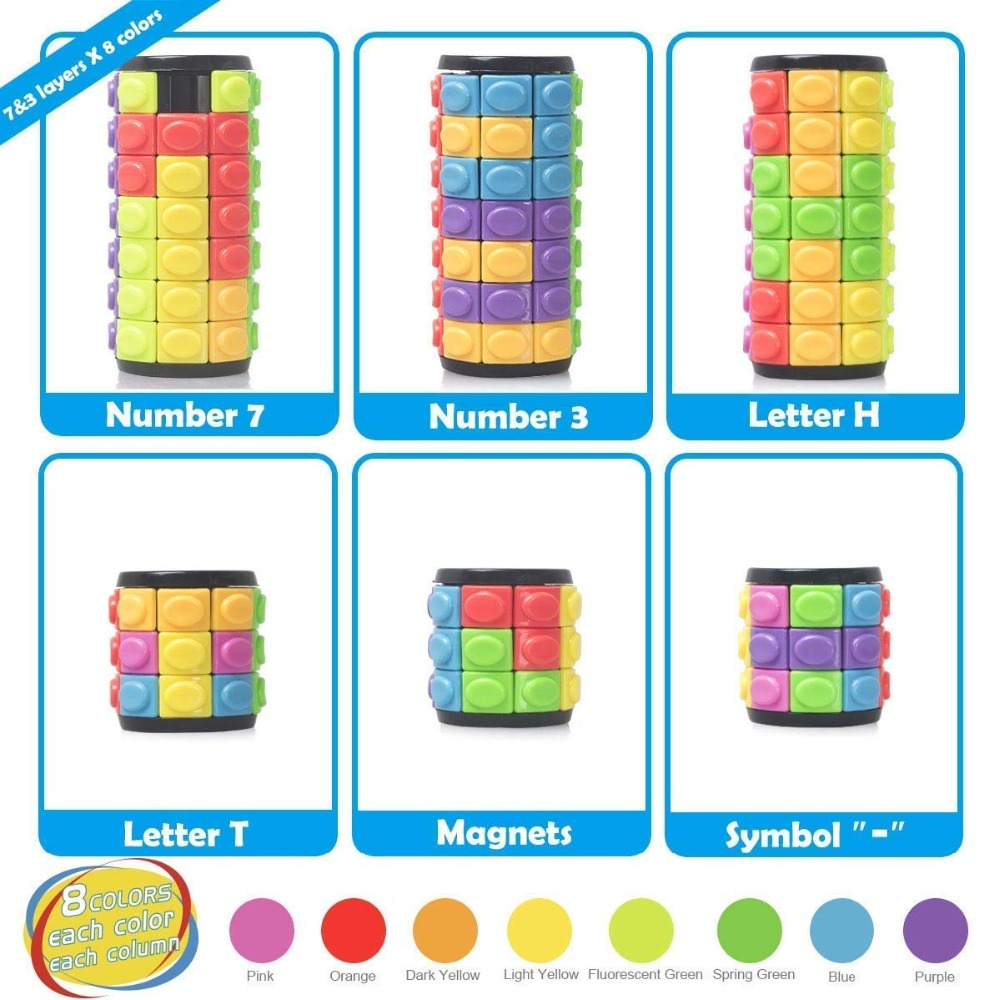 Image 3 - New 3D Rotate Slide Babylon Tower Stress Cube Puzzle Toy Cube Kids Adult Color Cylinder Sliding Puzzle Sensory Toy-in Magic Cubes from Toys & Hobbies
