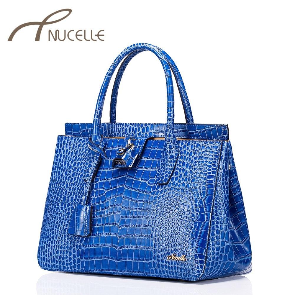 ФОТО Nucelle Women's Cowhide Handbag Female Split leather Shoulder Crocodile Female Tassel Messenger Bag High Quality Bolsas 0603