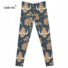 CANDICE ELSA leggings women elastic sexy fitness legging elephant print workout female pants plus size wholesale