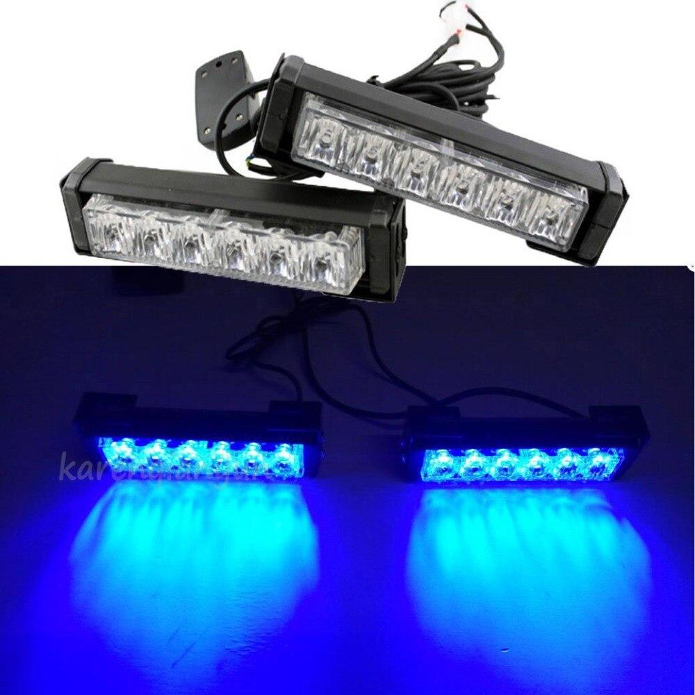 ФОТО 2x 6 LED Blue Car Emergency Beacon Grille LED Light Bar Hazard Strobe Warning 12V