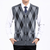 XT1267 2018 Spring Autumn New Elderly Men Fashion V Neck Sweater Cardigan With A Sweater Vest