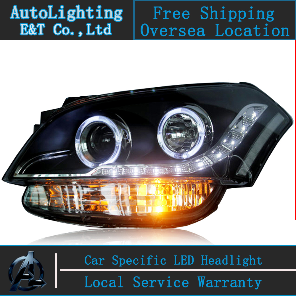 Car Styling For KIA SOUL Headlight assembly 2009-2012 SOUL LED Headlight Automobile angel eye led drl H7 with hid kit 2 pcs. headlight for kia k2 rio 2015 including angel eye demon eye drl turn light projector lens hid high low beam assembly
