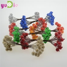 20pcs 40head Mini Fake Fruit glass Berries Artificial pomegranate red cherry Bouquet Stamen Christmas font b
