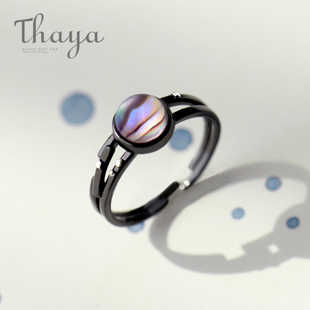 Thaya 925 Sterling Silver Gemstone Ring Stars Milky Trail Finger Ring Magical Stripe Crystal Handmade Jewelry for Women exquisite gemstone embellished vivid alloy finger ring for women