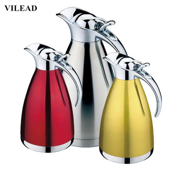 VILEAD 4 Color Coffee Thermos Mug Stainless Steel Grip Teapot Vacuum Flasks Termos Cups Garrafa Termica Thermos Hot Water Bottle 304 stainless steel thermos 1000ml 2000ml termos coffee vacuum flasks thermoses travel thermos bottle stainless steel thermo pot