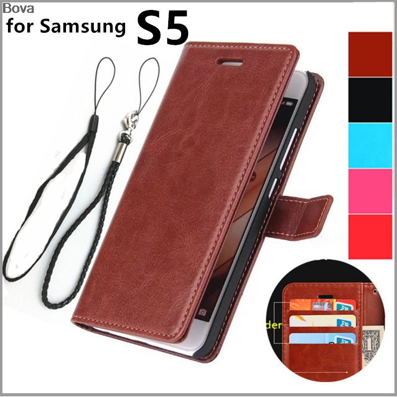 Étui à rabat en cuir rétro pour Samsung Galaxy S5 i9600 G9000 Housse de protection Magnetic Buckle Holster Card Holder Cover Case