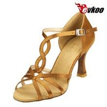 Evkoodance Shoes Latin For Woman 7cm Heel Height Satin Salsa Dance Shoes Professional Tan Color Evkoo-049