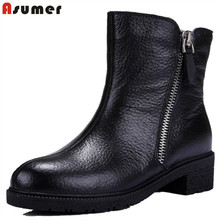 Genuine leather high quality side zipper soft leather ankle boots punk casual fashion black concise sweet women boots