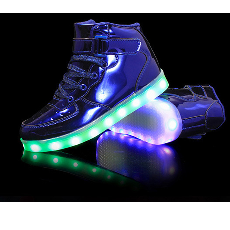 New Fashion USB Charging Kids LED Shoes Boys Girls Luminous Sneakers with Glossy Upper Glowing Sneakers for Children enfant