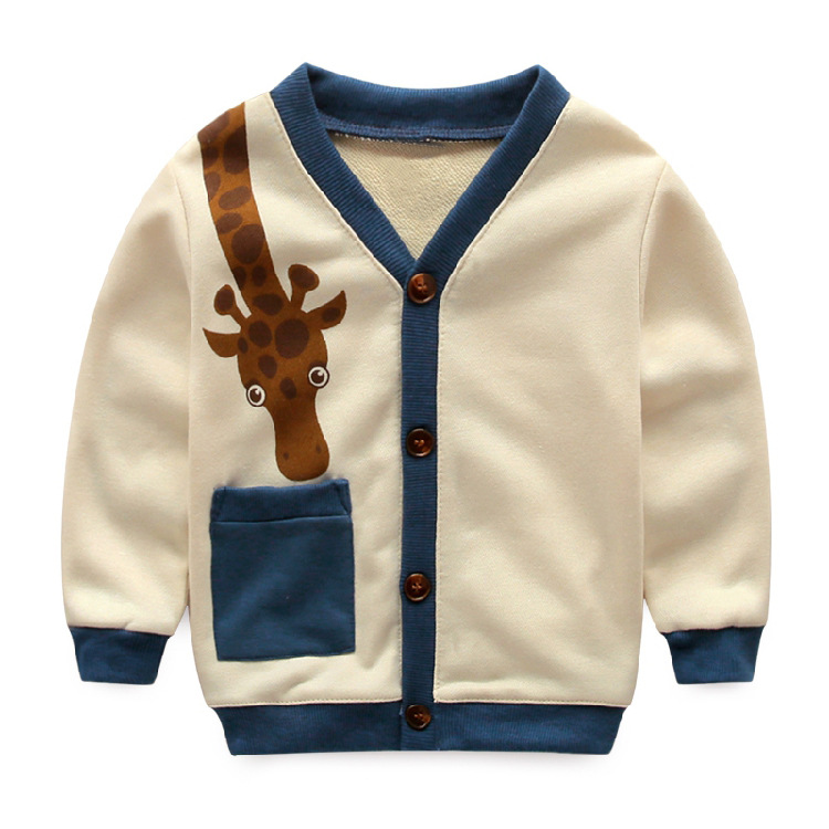 2016  spring autumn Girls Kids boys  cotton Giraffe cardigan jacket  comfortable cute baby Clothes Children Clothing wholesale