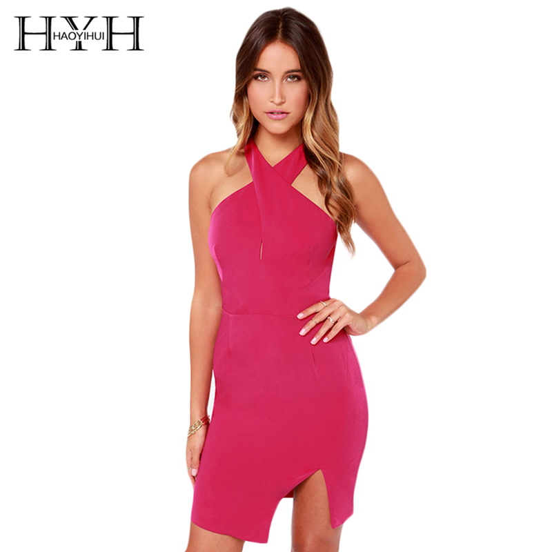 HYH HAOYIHUI Solid Color Women Dress Sexy Cut Out High Low Neck Mini Dress Women Front Cross Backless Sleeveless Bodycon Dress
