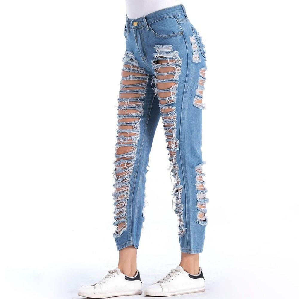 Lige 2019high Waist Washed Blue One-leg Cut Broken Hole Raw Brushed Nine Points Jeans Women Jeans Jeans Women's Clothing