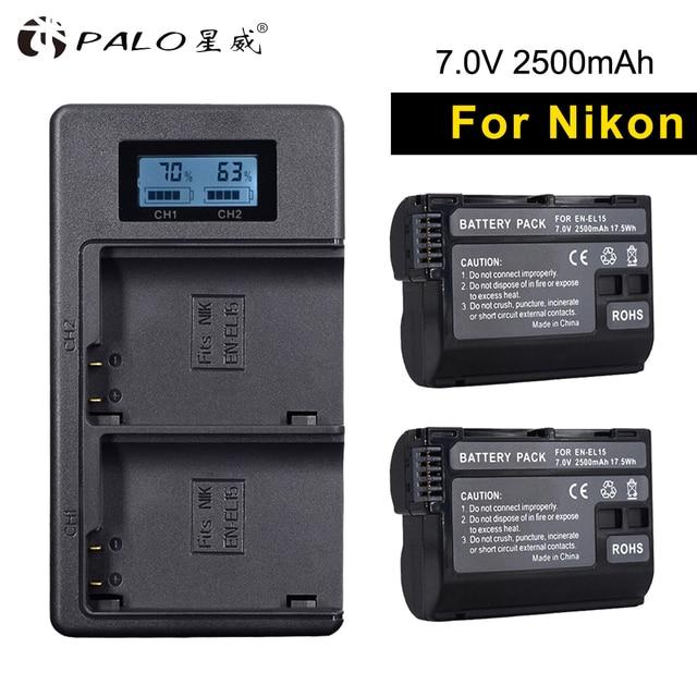PALO 2 piezas EN-EL15 recargable baterías + pantalla LCD cargador de batería con Cable USB para Nikon d7200 d600 d850 d750 d7100 d800 V1