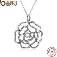 BAMOER 925 Sterling Silver Shimmering Rose Pendant Necklace Clear CZ Necklaces Pendants Colares Fine Jewelry PSN004