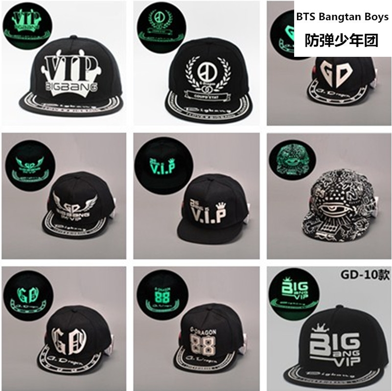 BIGBANG kpop NEW 2017 Ms. fluorescent luminous hat male hip-hop hat Black cap hip hop hat flat k-pop EXO brimmed hat baseball M