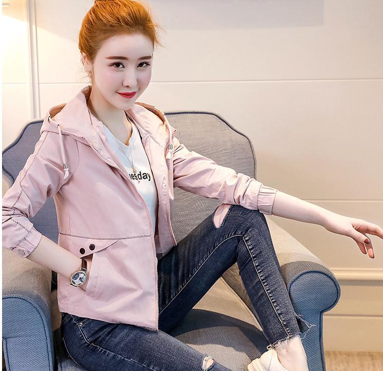 Envoyer rose Longues Style Capuche Casual 2018 pu Ciel jaune Manches De Et Printemps Coréen Mode Veste Nouveau Livraison Manteau Beige Court À Femmes Automne dqdfCP