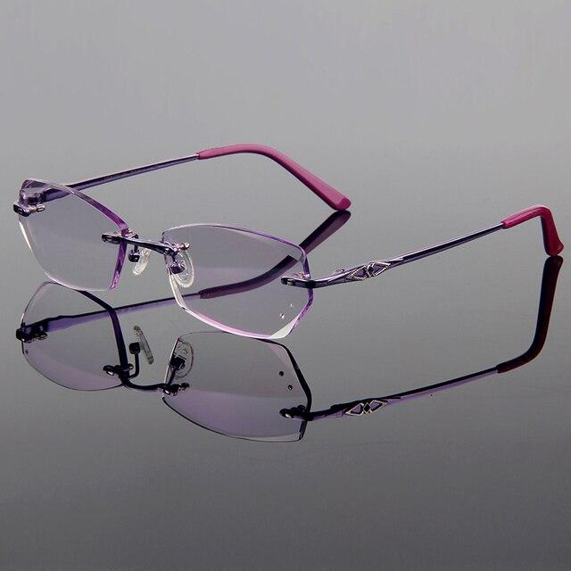 Роскошный Фиолетовый Titanium Сплава Оптически Рамка Алмаз Обрезки Вырезать Без Оправы Очки С Градиентом Оттенок Линзы Женщины Стиль Рамки