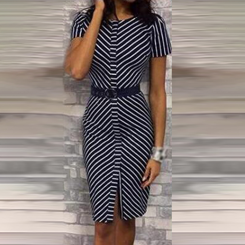 Vintage Dress Women Work Bodycon Striped  Office Lady Dress Slim High Waist Front Split Summer Pencil Vestidos