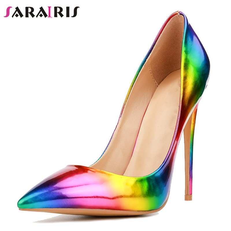 SARAIRIS New Plus Size 33-50 Rainbow Pointed Toe Shallow Thin High Heels 12cm Shoes Woman Casual Party Sexy Spring Autumn Pumps