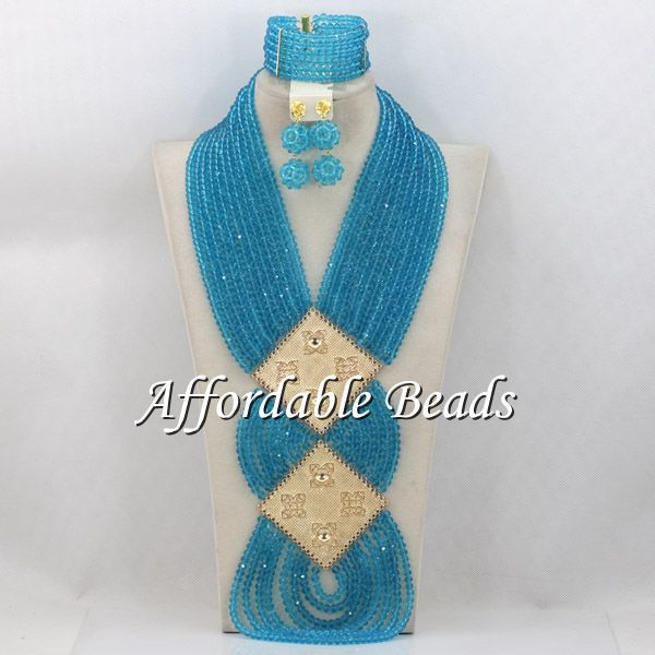 Sky Blue Nigerian Wedding Beads Charming African Wedding Jewelry Sets New Arrival Free Shipping ABC067 charming embellished blue rhinestone wedding ring