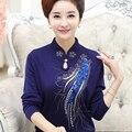 Новая осень мода весна среднего возраста женщин вязаный свитер женский свободные длинным рукавом Вышивка Мандарин Воротник основной пуловеры