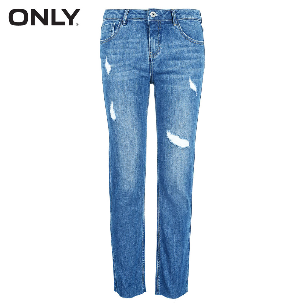 Blue Sólo 350jeans White Las Low Recto rise Jeans Ripped Mujeres off 118149623 fZpwxCfq