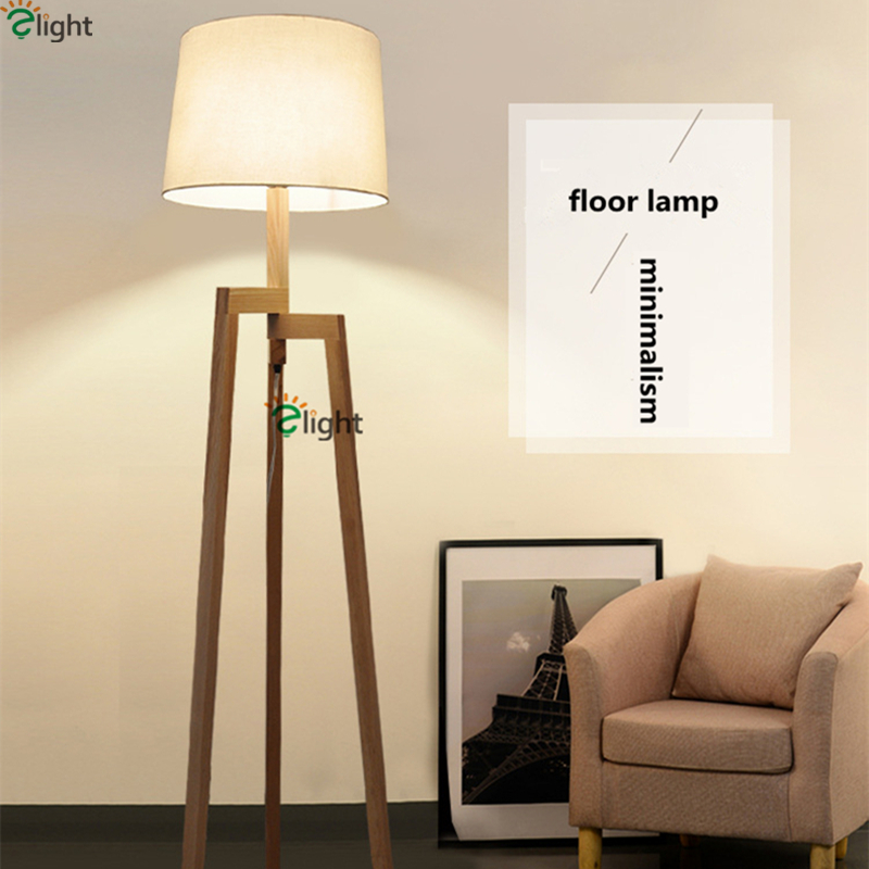 Nordic Minimalism Solid Wood Led E27 Floor Lamp Bedroom Study Room Oak Material With Fabric Lampshades