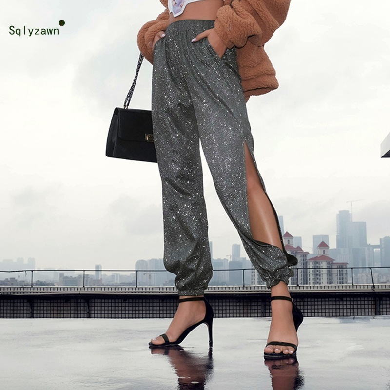 Bright Silk Nightclub Reflective Trousers Women Sparkle Metallic Maxi Ladies Silver High Waist Pants Club Wear Stage Dance Pants